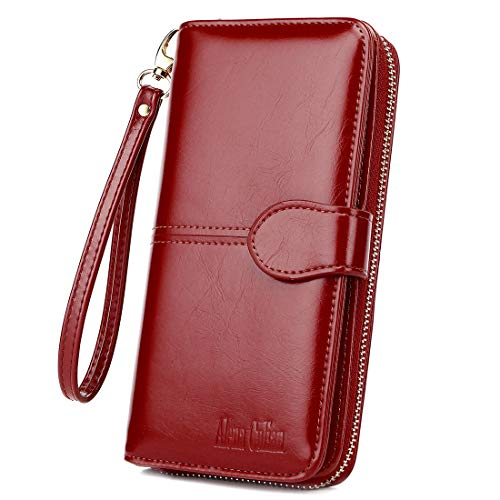 Women Wallet Soft Leather Bifold Clutch Wallet Large Capacity Long Purse with Strap