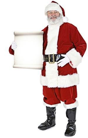 Weihnachtsmann mit Small Sign - Weihnachten LEBENSGROSSE PAPPFIGUREN / STEHPLATZINHABER / AUFSTELLER