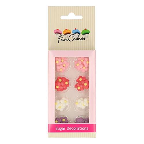 FunCakes Decoraciones de Azúcar Flores Listo Para ser Usar en la Decoración de Tartas, Perfecto para Cupcakes Temáticas y más, Certificado Sin Gluten, Set/32