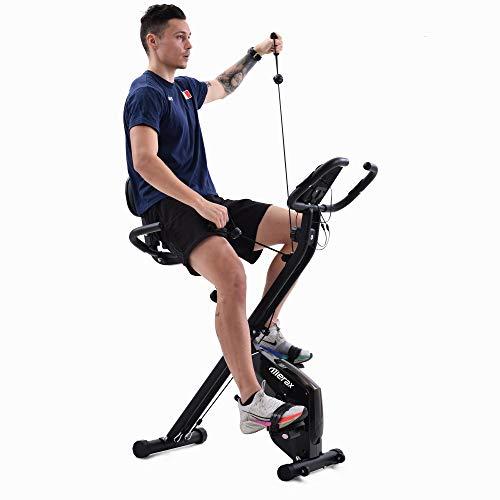 Bicicleta Estáticas Bicicleta De Ejercicios De Aptitud Plegable Con Bandas De Resistencia, 8 Niveles De Resistencia Magnética Con Sensor De Pulso, Teléfono / Tableta Con Ciclismo Suave Y Tranquilo