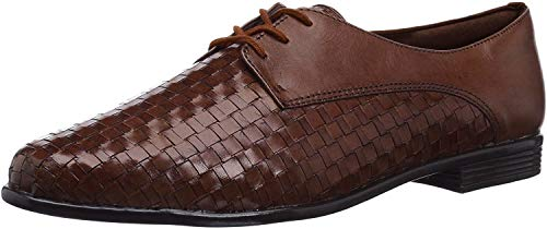Trotters Lizzie Cognac Woven/Smooth Leather 6.5