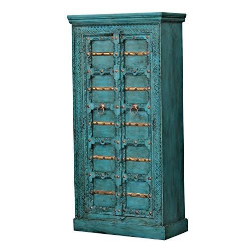 Casa Moro | Adna - Armario de estilo oriental (90 x 40 x 185 cm, madera auténtica, estilo colonial), color turquesa | CA321270