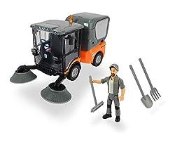 Dickie Toys Playlife-Straßenkehrer Set, Kehrmaschine Kärcher MC 130, drehende Kehrbesen, zu öffnende Türen, Auffangbehälter auf zwei Stufen zu öffnen und entleeren, inkl. Figur & Kehrwerkzeug, 19,5 cm