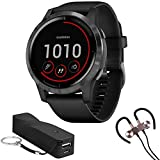 Garmin 010-02174-11 Vivoactive 4 Smartwatch (Black/Stainless) Bundle with Voltix 2600mAh Portable Power Bank and Deco Gear Magnetic Wireless Sport Earbuds