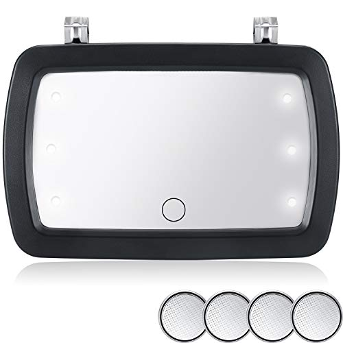 Car Sun Visor Mirror Makeup Sun-Shading Cosmetic Mirror Automobile Makeup Mirror with 4 Pieces Button Battery LED Lights and Touchscreen for Various Car Truck Automobile Accessories