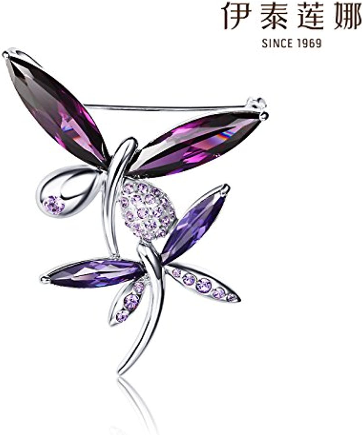 Yitai Ms Crystal Brooch pin Badge Beauty Butterfly Brooch pin Badge Austria Elena Fans with Direct Elegant Evening Dress Accessories