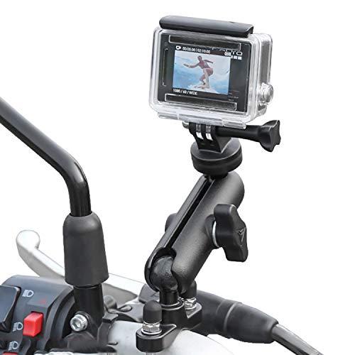 BIAONIU 360°Motorcycle Bike Camera Holder Handlebar Mount Bracket 1/4 Metal Stand for GoPro Hero9/8/7/6/5/4/3+ Action Cameras Accessory(Cool Ballhead Arm Super Clamp Mount Multi)