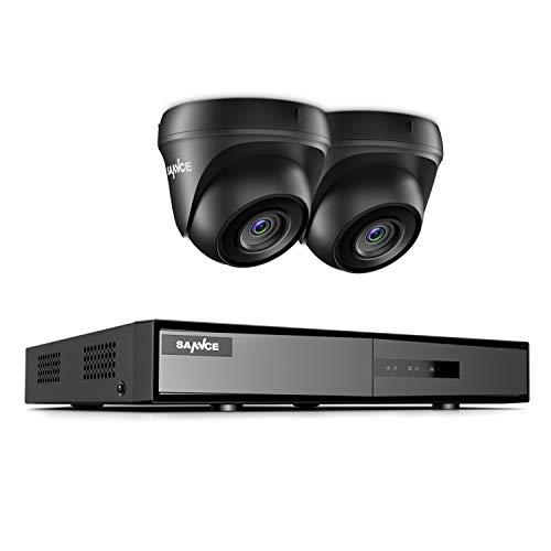 SANNCE Kit Sistema de Vigilancia 4CH DVR 1080P 5-en-1 + 2 Cámaras Kits de Seguridad 1080P IP66 Impermeable con IR Visión Nocturna Acceso Remoto- sin Disco Duro