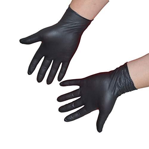 Cabilock 100 Stück Latex medizinische Einweg-Black Powder Freie Tattoos Piercing Handschuhe Untersuchungshandschuhe aus Nitril Handschuhe XL Schwarz