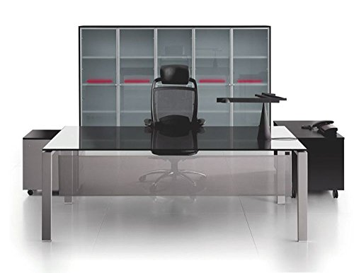 Glasschreibtisch Glider, Bürotisch, Schreibtisch, Chefbüro, hochwertige Büromöbel