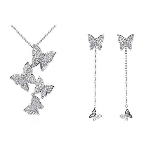 LPZW 925 Plata esterlina Coreano Vintage Mariposa joyería Sets Long Borla aretes Cadena de navos para Mujeres (Size : One Size)