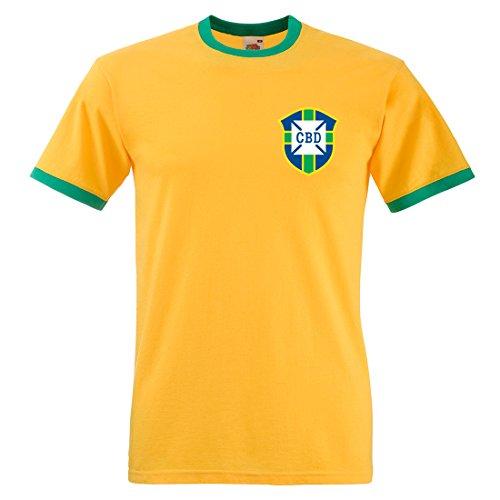 Herren CBD Pele 1970World Cup Brazil T-Shirt Gr. M/ 97 cm- 102 cm, Sunflower and Kelly Green