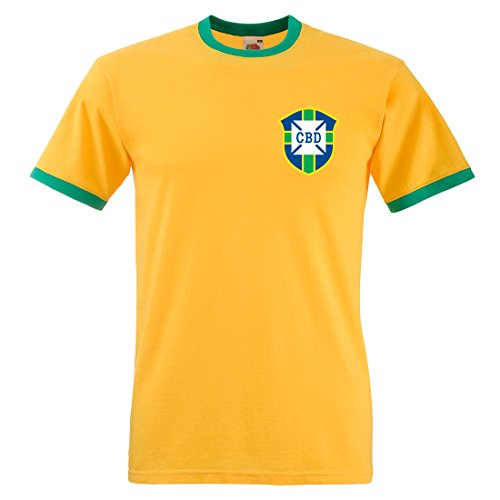 Persönlich gestaltbares CBD Brasilien Retro-Fußballtrikot Gr. Medium, Sunflower and Kelly Green