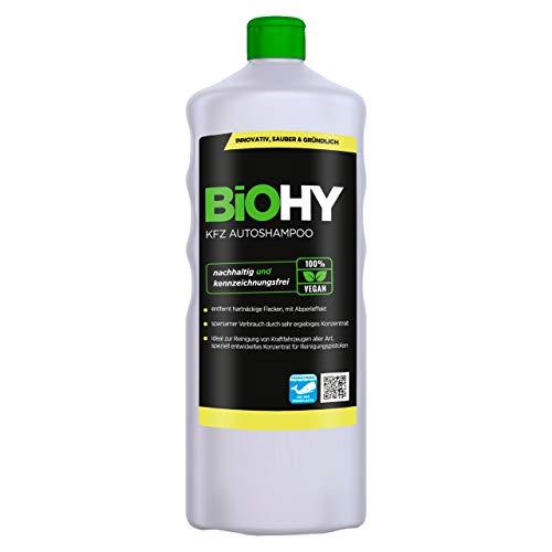 BIOHY KFZ Autoshampoo (1l Flasche) | Konzentrat exzellente Reinigungskraft & Schaumbildung | Schützender Abperleffekt | Erzeugt einen anhaltenden frischen Duft