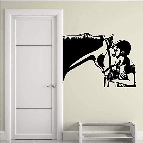 Pferd Und Reiter Wandaufkleber Vinyl Pferdekopf Wandtattoo Home Schlafzimmer Dekoration Design Pferd Tier Wandfenster Wandbild 42X31Cm