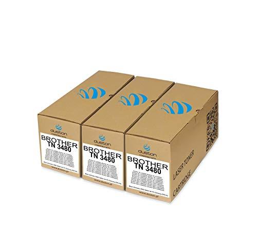 3x TN3480, TN-3480 Toner nero rigenerato Duston compatibile con Brother DCP-L5500 L6600 HL-L5000 L5100 L5200 L6250 L6300 L6400 MFC-L5700 L5750 L6800 L6900