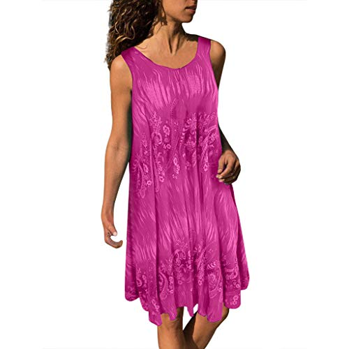 Aoogo Damen Plus Size Druck Sommerkleider Böhmisch Kleid Halfter Ärmellos Strandkleid Lang Kleider MaxiKleid Cocktailkleid