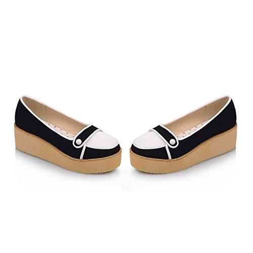 Feilongzaitianba Slip On Shoes Platform Women Wedges High Heels Casual Platform Wedge High Heel Shoes Plus Size Black 4