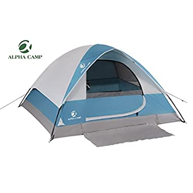 ALPHA CAMP 4 Person Camping Tent with Mud Mat - Dome Design 9' x 7' Blue