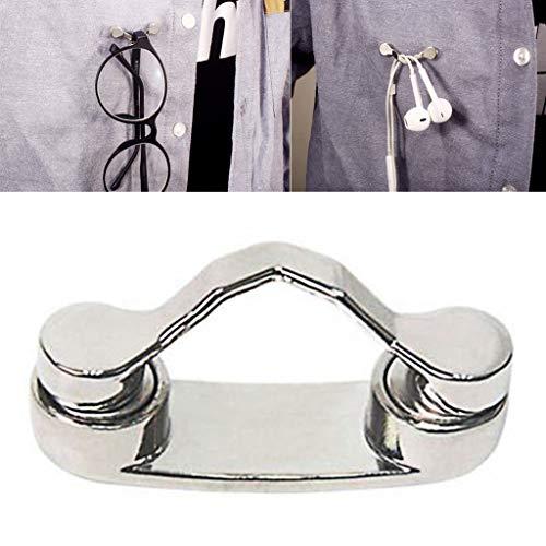 Yiwann - Supporto magnetico in acciaio INOX, clip da fissare ai vestiti per occhiali da sole e da vista, cavo auricolari e così via