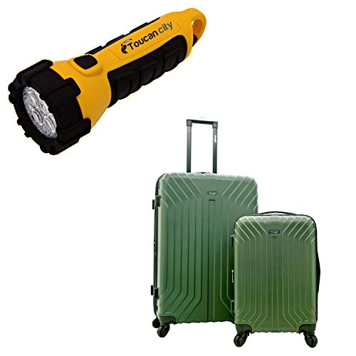 Toucan City LED Flashlight and Wrangler Auburn Hills 2-Piece HARDSIDE Hardside Veal Rolling Luggage Set with Spinner Wheels WR-B6202-EX-340