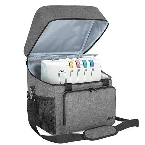 Luxja Overlock Tasche für Overlock Maschinen, Overlocktasche für Aufbewahrung Overlock-Nähmaschinen, Coverlocktasche für Transport Overlockmaschine und Zubehör, 33CM x 30,5CM x 34CM, Grau