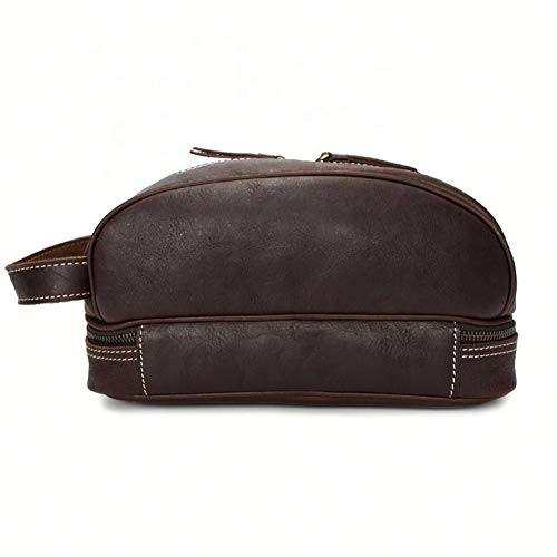 Leather Men's Men's bag Fashion Oil Skin Unisex Cosmetic Bags Make Up Bags Wash Bags With Double Zipper fashion (Color : Brown, Size : S)