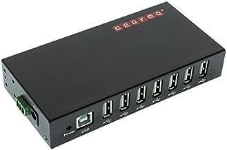 USBGear 7 Port USB 2.0 Rugged Industrial Metal Hub Mounting Brackets - DIN-Rail Mount - 3 Wire Optional 9-24V Power Receptacle