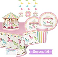 Carousel Party Supplies - Carousel Party Plates and Napkins Cups for 16 People - Includes Carousel Danglers Tablecloth & Centerpiece - Perfect Merry Go Round Carousel Decorations for Birthday, Baby Shower and All Lavish Events!