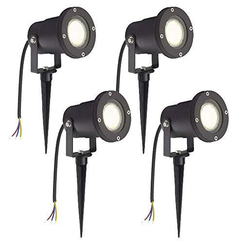 LZQ Lámpara LED de jardín con estaca, 3 W, luz blanca cálida, para césped, color negro mate, resistente al agua IP65, para exteriores, jardín, estanque, paisaje, sin enchufe, 4 unidades