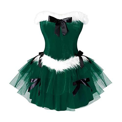 Transwen – Minivestido para mujer, de terciopelo, de malla, sexy, sin mangas, para Navidad, carnaval, Navidad, fiesta de noche, vestido de cóctel verde XL
