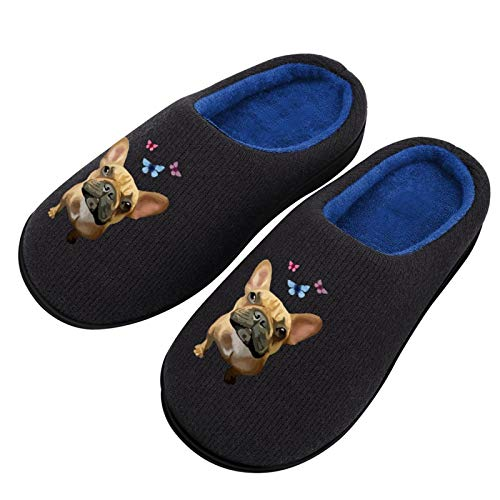 French Bulldog Butterfly Cotton Breathable Slippers with Memory Foam Anti Skid Sole for Women Backless