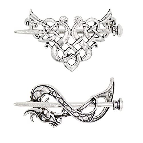 2 Pieces Silver Celtic Hair Slide Hairpin Hair Clips Hair Accessories, Viking Hair Clips Celtic Knot Hair Pins Hair Sticks Hair Barrettes for Women (Style-C+B)