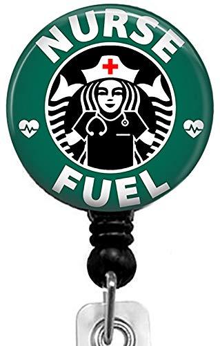 Nurse Fuel-Coffee Series Retractable Badge Reel with Alligator Clip,Name Nurse ID Card Badge Holder Reel, Decorative Custom Badge Holder