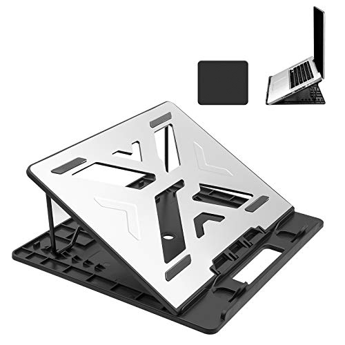 Sonkir Foldable Laptop Stand, Portable Aluminum Ventilated Cooling Desktop Notebook Tablet Holder Riser, Ergonomic & Adjustable Tray Mount with Mouse Pad, 7-Levels
