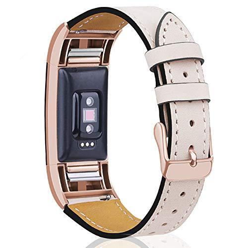 """Mornex Für Charge 2 Armband, echte Leder Armbänder, Unisex Ersatzband mit Metall Konnektoren(5,5\""""-8,1\""""), Rose Gold & Helles Beige"""