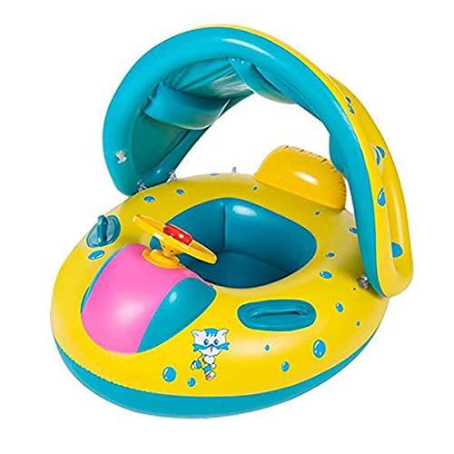 Wishliker Flotador para bebé con Asiento,Respaldo,Techo del Sol,Barca bebé de Piscina para 1-3 Años de Edad