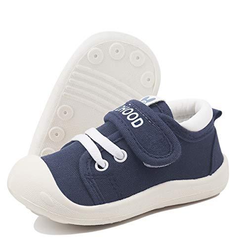 DEBAIJIA Bebé Primeros Pasos Zapatos 1-4 años Niños Niñas Infante Suave Suela Antideslizante Lona Ligero Deportivas 19 EU Azul Marino (Tamaño de la etiqueta-15)