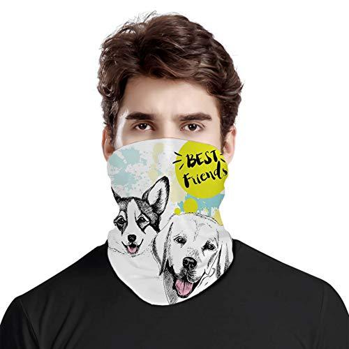 FULIYA Gran cara cubierta bufanda protección cuello, mejor tipografía de amigos con dibujo a mano ilustración de Corgi Grunge, variedad bufanda de cabeza unisex