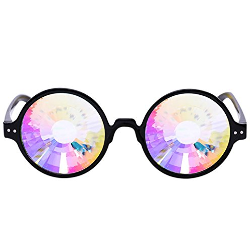 ZARU Ronde kleurrijke glazen voor feestelijke feesten, unisex caleidoscoopzonnebril Rave Festival Party EDM zonnebril buugingslens strandbril danszonnebril
