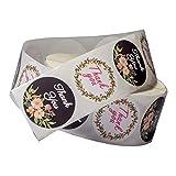 IPOTCH 500Pcs / Roll Thank You Selbstklebende Geschenkaufkleber Marmelade Aufkleber Kuchen/Verpackung/Umschlag Aufkleber