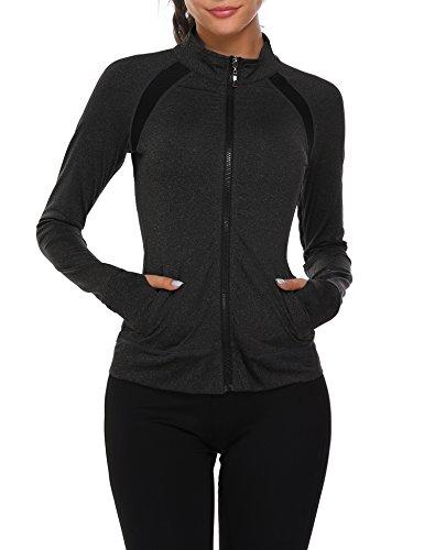 Parabler Laufjacke Damen Sportjacke Trainingsjacke voll Reißverschluss Trainingsanzug mit Daumenloch und Seitentasche Fitness Schwarz L