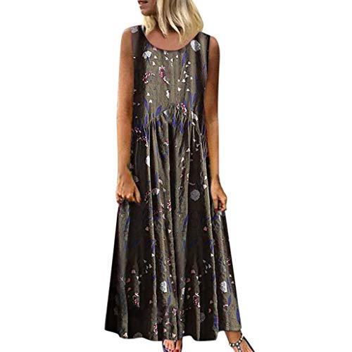 Vestido Mujer Talla Extra Bohemio O-Cuello Estampado Floral Vendimia Sin Mangas Largo Maxi Dress