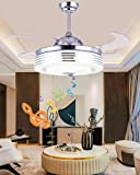 """Sweety House 42'Bluetooth Music Ceiling Fan Ceiling Light, Multi-Function Remote Control LED Stealth Retractable Blade Adjustable 7 Color Light and 3 Wind Speed Deco (42""""Silver)"""