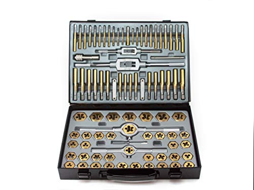 VCT 86pc Tap and Die Combination Set Tungsten Bearing Steel Titanium Coated SAE AND METRIC Tool
