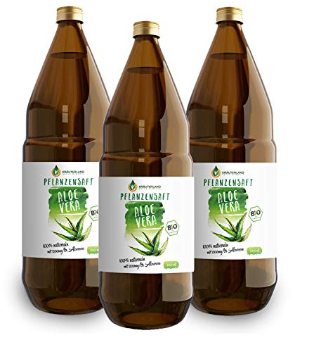 Kräuterland - Bio Aloe Vera Pflanzensaft 3x1L Glasflasche - 1200mg Aloverose Gehalt - 100% rein, handfiltriert, vegan, naturtrüb- Direktsaft