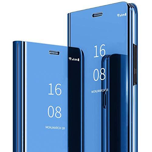 MadBee Coque Galaxy J4 Plus 2018 [Film de Protection écran], Smart Mirror Cover en Cuir Flip téléphone Mobile Étui Housse de Protection pour Samsung Galaxy J4 Plus 2018 (Bleu)