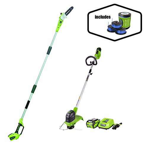Great Deal! Greenworks 40V Cordless Pole Saw/String Trimmer + Extra Spool Pack Combo Kit, 2.0ah batt...