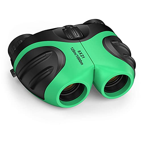 LET'S GO! Binoculars for Kids Outdoor Toys for 3-12 Years Old Kids, 8X21 High Resolution Compact Waterproof Bird Watching Foldable Binocular Perfect for Travel,Camping,Hiking,Birthday Xmas(Green)