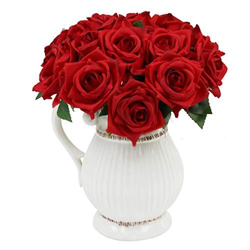Aonewoe Conjunto De 2 Ramos De Flores De Rosas Falsas 9 Cabezas Flores De Rosas De Seda Ramo De Novia De La Boda Flores…